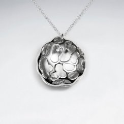 Veined Circle Modern Silver Pendant