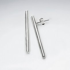 Vertical Lines Sterling Silver Stud Post Earrings