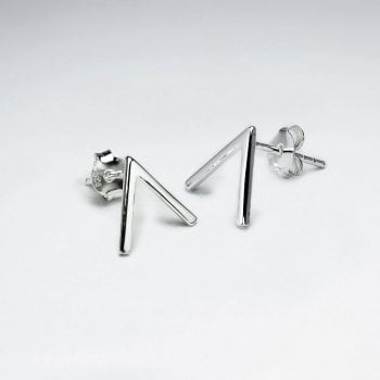 "Victorious ""V"" Sterling Silver Stud Earrings"