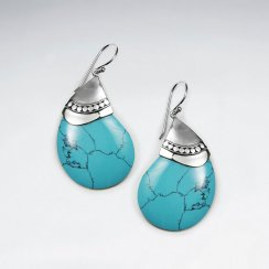 Water Drop Howlite Silver Earring