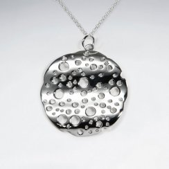 Water Droplet Polished Silver Wavy Disc Pendant