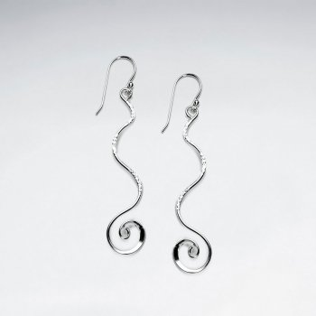 Wavy Spiral Sterling Silver Dangle Drop Earrings