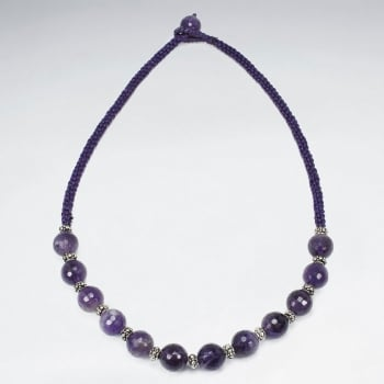 Waxed Cotton & Amethyst Ball Necklace