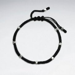 Waxed Cotton and Faceted Sterling Silver Bracelet