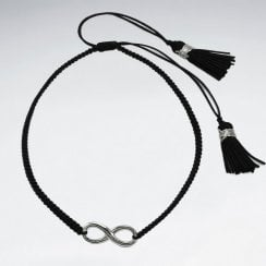 Waxed Cotton and Sterling Silver Infinity Bracelet