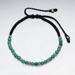 Waxed Cotton and Sterling Silver Turquoise Bracelet