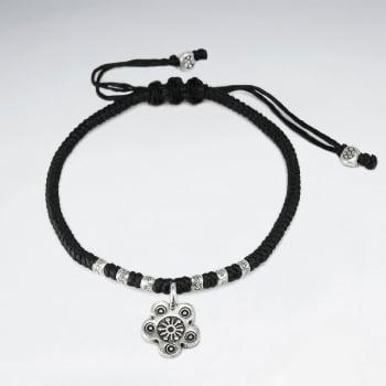 Waxed Cotton Bead & Flower Bracelet