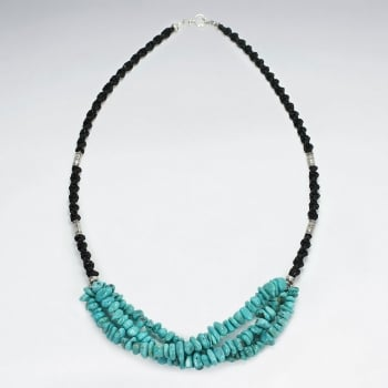Waxed Cotton Black Bead & Charm Turquoise Multi Strand Necklace