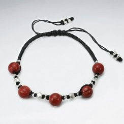 Waxed Cotton Bracelet with Coral Beads