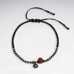 Waxed Cotton Bracelet with Silver and Coral