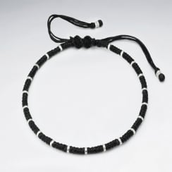 Waxed Cotton Braided Adjustable Silver Studded Bead Bracelet