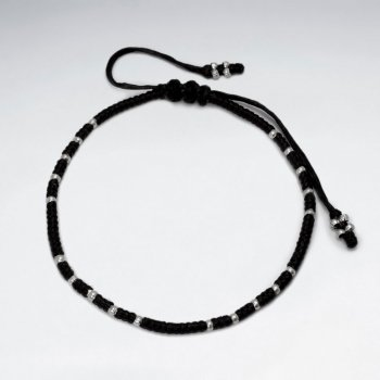 Waxed Cotton Cord Patterned Bracelet