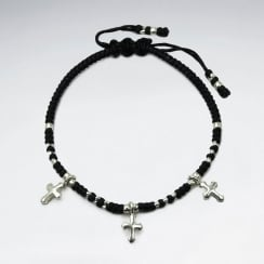 Waxed Cotton Cross Bracelet