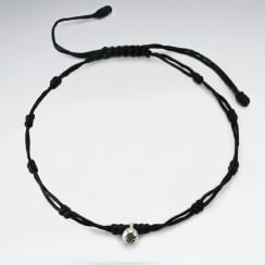 Waxed Cotton Double Strand Bead Anklet