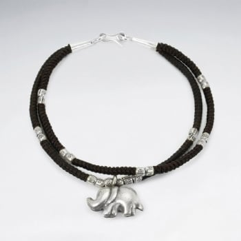 Waxed Cotton Double Strand Corded Silver Elephant Charm Bracelet