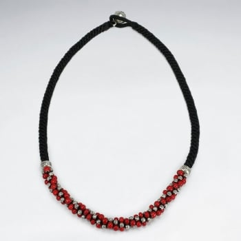 Waxed Cotton & Red Beads Twist Necklace