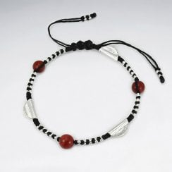 Waxed Cotton, Silver and Coral Bracelet