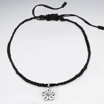 Waxed Cotton Silver Flower Anklet