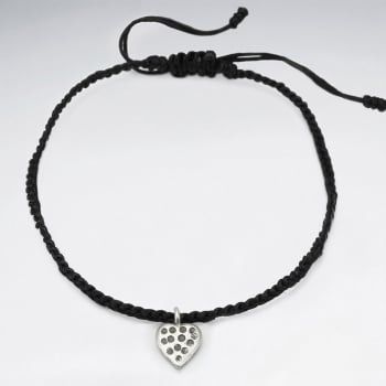 Waxed Cotton Silver Heart Anklet