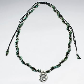 Waxed Cotton Twist Turquoise Spiral Charm Necklace