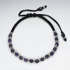 Waxed Cotton With Amethyst Bracelet