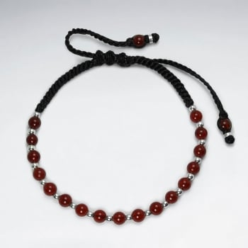 Waxed Cotton With Carnelian Bracelet