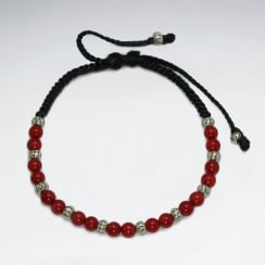 Waxed Cotton With Coral Bracelet