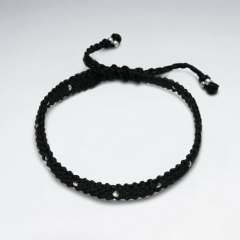Waxed Cotton With Handmade Silver Bead Bracelet