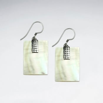 White Mother Of Pearl and Silver Rectangle Dangle Earrings