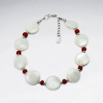 White Oval Shell & Red Bead Bracelet