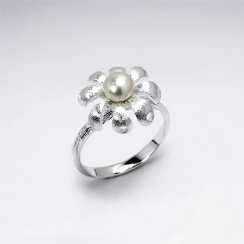White Pearl Studded Flower Ring