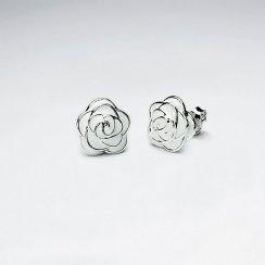 White Rose Enamel Silver Stud Earring