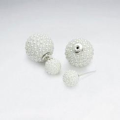 White Synthetic Pearl Mise En Double Sided Stud Earring