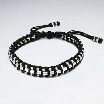 Wide Black Waxed Cotton Braided Full Silver Studded Bead Bracelet