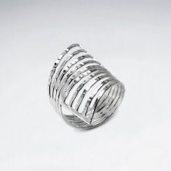 Wide Openwork Zebra Stripe Sterling Silver Statement Ring