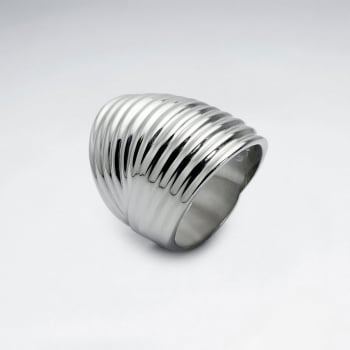 Wide Ribbed Stainless Steel Statement Ring