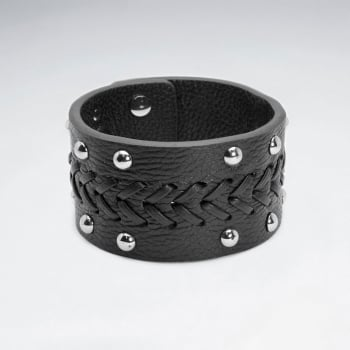 Wide Studded Stainless Steel Leather Bracelet