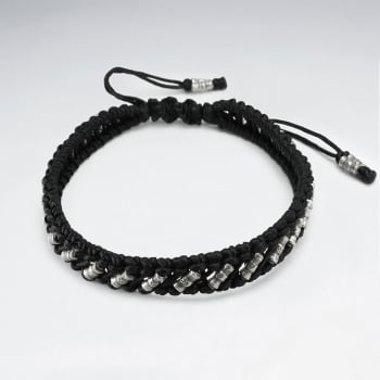 Wide Stylish Black Waxed Cotton Beaded Twist Wrap Bracelet