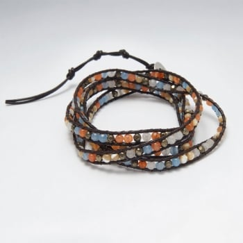 Wind Earth & Sky Leather Mixed Bead Wrap Bracelet