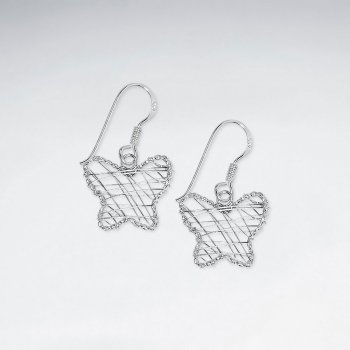 Wire Work Butterfly Silver Earring