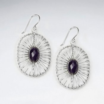Wire Work Dangling Silver Earring With Faceted Oval Amethyst