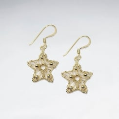 Wire Work Star Silver Earring