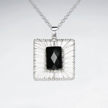 Wirework Silver Pendant With Rectangle Black Stone Faceted Pendant