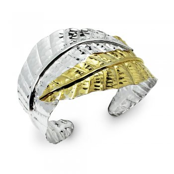Wrap Leaf Duel Tones Bangle Cuff