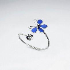 Wrap Style Sterling Silver Enamel Butterfly Ring