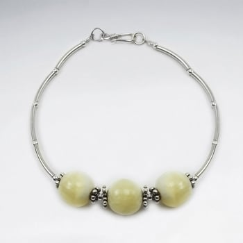 Yellow Jade & Sterling Silver Ball Bead Bracelet