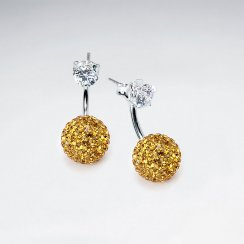 Yellow Tribal Mise En Double Sided Stud Earring With White CZ