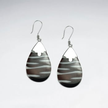 Zebra S Silver Teardrop Earrings